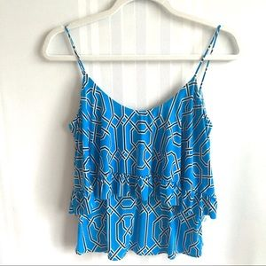 T-Bags Los Angeles Braided Tiered Crop Top Blue